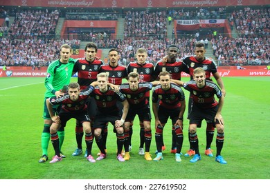 WARSAW, POLAND - OCTOBER 11, 2014: German national football team before the UEFA EURO 2016 qualifying match of Poland vs. Germany. Final results 2:0