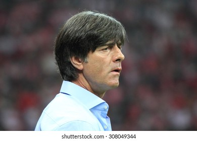 WARSAW, POLAND - OCTOBER 11, 2014: Joachim Low, head coach of the German national football team during the UEFA EURO 2016 qualifying match of Poland vs. Germany. Poland beat Germany 2:0