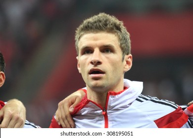 WARSAW, POLAND - OCTOBER 11, 2014: Thomas Muller (German team and Bundesliga club Bayern Munich player) before the UEFA EURO 2016 qualifying match of Poland vs. Germany. Poland beat Germany 2:0