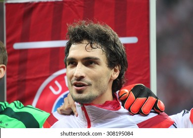 WARSAW, POLAND - OCTOBER 11, 2014: Mats Hummels (German team and Bundesliga club Borussia Dortmnund defender) before the UEFA EURO 2016 qualifying match of Poland vs. Germany. Poland beat Germany 2:0