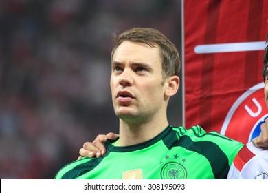 WARSAW, POLAND - OCTOBER 11, 2014: Manuel Neuer (German team and Bundesliga club Bayern Munich goalkeeper) before the UEFA EURO 2016 qualifying match of Poland vs. Germany. Poland beat Germany 2:0