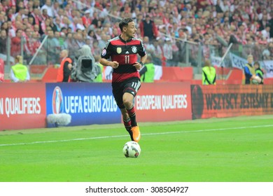 WARSAW, POLAND - OCTOBER 11, 2014: Karim Bellarabi (German team and Bundesliga club Bayer Leverkusen winger) before the UEFA EURO 2016 qualifying match of Poland vs. Germany.