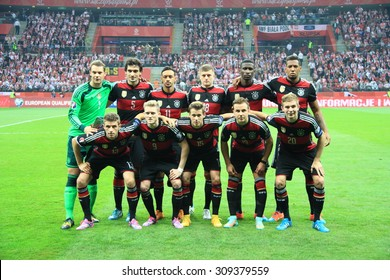 WARSAW, POLAND - OCTOBER 11, 2014: German football team before the UEFA EURO 2016 qualifying match of Poland vs. Germany.