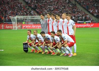 WARSAW, POLAND - OCTOBER 11, 2014: Polish football team before the UEFA EURO 2016 qualifying match of Poland vs. Germany.