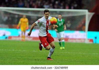 WARSAW, POLAND - OCTOBER 11, 2015: EURO 2016 European Championship Qualifing Round France Poland - Republic of Irelando/p Robert Lewandowski