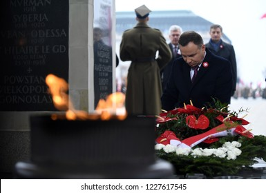 WARSAW, POLAND - OCTOBER 11, 2018: celebration of the 100th anniversary of regaining independence by Poland in front of Tomb of the Unnown Soldier