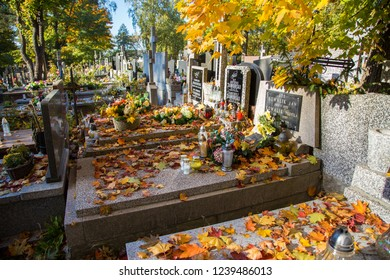 WARSAW, POLAND - October 12th 2018: Cemetery in Falenica, Warsaw, Poland