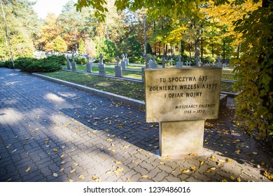 WARSAW, POLAND - October 12th 2018: World War II soldiers cemetery in Falenica, Warsaw, Poland