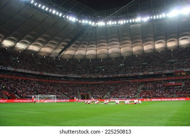 WARSAW, POLAND - OCTOBER 14, 2014: View of National Stadium in Warsaw before the UEFA EURO 2016 qualifying match of Poland vs. Scotland