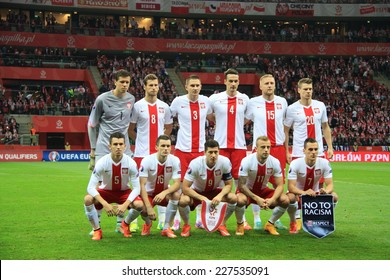 WARSAW, POLAND - OCTOBER 14, 2014: Polish national football team before the UEFA EURO 2016 qualifying match of Poland vs. Scotland. Final results 2:2