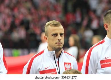 WARSAW, POLAND - OCTOBER 14, 2014: Kamil Grosicki (Polish team and French club Stade Rennais winger) before the UEFA EURO 2016 qualifying match of Poland vs. Scotland.