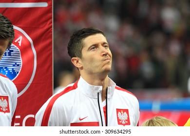 WARSAW, POLAND - OCTOBER 14, 2014: Robert Lewandowski (Polish team and Bundesliga club Bayern Munich) before the UEFA EURO 2016 qualifying match of Poland vs. Scotland.