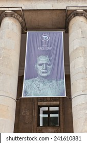 WARSAW, POLAND - OCTOBER 18, 2014: Poster of play Oedipus the King (by Sophocles) at the facade of Drama Theatre in Warsaw, Poland