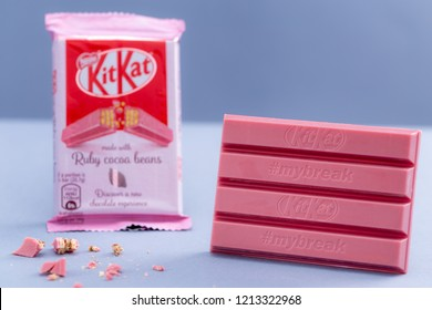 Warsaw, Poland - October 20, 2018: KitKat Ruby Cocoa Beans, Nestle. 4 Finger Ruby Chocolate Bar.