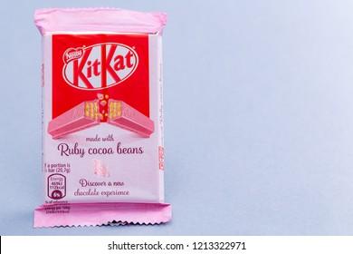 Warsaw, Poland - October 20, 2018: KitKat Ruby Cocoa Beans, Nestle. 4 Finger Ruby Chocolate Bar.