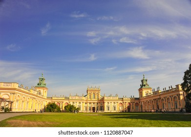 Warsaw, Poland - October 2014: Panoramic view of Wilanow Palace,   Royal Residence (built 1677-1696). Beautiful Baroque style building seen from the Italian designed garden