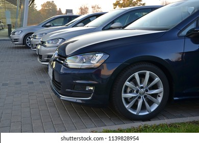 Warsaw, Poland - October, 21, 2012: Volkswagen Golf cars in the row in exhibition point.
