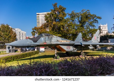 Warsaw, Poland - October 21, 2018. aircraft MiG-29 fighter jet at open air exhibition in front of Museum of the Polish Army in Warsaw