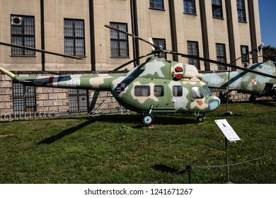Warsaw, Poland - October 21, 2018. Soviet light helicopter Mil Mi-2 , open air exhibition in front of Museum of the Polish Army in Warsaw