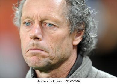WARSAW, POLAND - OCTOBER 22, 2015: UEFA Europa League group stage Legia Warsaw Club Brugge Belgium o/p: Michael Preud Homme coach