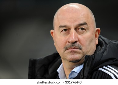 WARSAW, POLAND - OCTOBER 22, 2015: UEFA Europa League group stage Legia Warsaw Club Brugge Belgium o/p: Stanislav Cherchesov Czerczesow coach