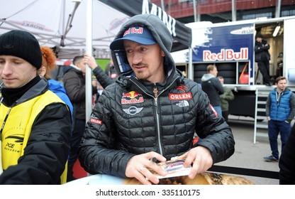 WARSAW, POLAND - OCTOBER 24 2015: VERVA Street Racing Special Editiono/p Adam Malysz ex ski jumper dakar rally driver