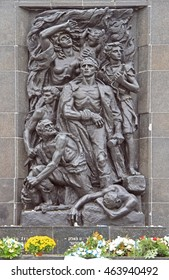 WARSAW, POLAND - OCTOBER 24, 2015: Monument to the Ghetto Heroes in Warsaw, Poland, sculpted by Nathan Rapoport