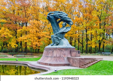 WARSAW, POLAND - OCTOBER 26, 2016: Fryderyk Chopin monument in autumn scenery of the Royal Lazienki Park in Warsaw, Poland, designed around 1904 by Waclaw Szymanowski (1859-1930).