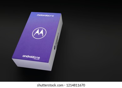 Warsaw, Poland - October 26, 2018: Motorola ONE, unboxing of new model of Motorola smarphone operating on Android ONE system