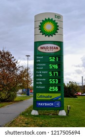Warsaw, Poland - October 26 2018: BP singboard, logo. BP signboard with fuel prices. BP plc (formerly The British Petroleum Company plc and BP Amoco plc). British multinational oil and gas company