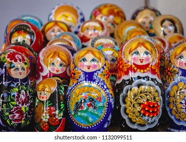 Warsaw, Poland - October 29, 2005: Matryoshka dolls for sale on the Old Town in Warsaw city