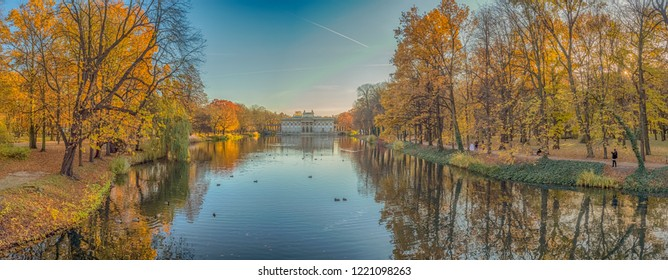 Warsaw, Poland - October 31, 2018: Palace on the Isle in the Royal Baths Park in autumn, Baths Park, Panoramic view