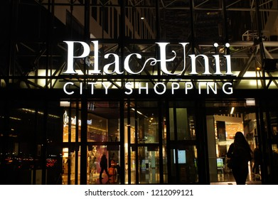 Warsaw, Poland - October 4 2018:  A night shot of the entrance to the Plac Unii shopping centre in Warsaw