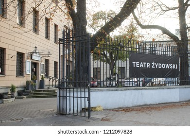 Warsaw, Poland - October 5 2018:  The outside of the Teatr Żydowsk (Jewish Theatre) in Warsaw