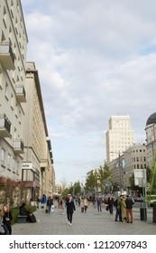 Warsaw, Poland - October 5 2018:  People on Świętokrzyska street in warsaw