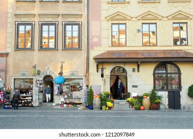 Warsaw, Poland - October 5 2018: Stores in OPld Town Warsaw
