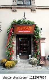 Warsaw, Poland - October 5 2018: The front of a restaurant in Old Town Warsaw