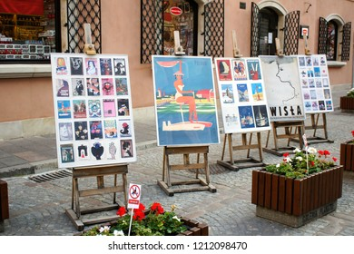 Warsaw, Poland - October 5 2018: Artwork for sale on a street in Old Town Warsaw