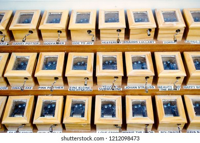 Warsaw, Poland - October 5 2018: Miniature souvenir music boxes on sale in Warsaw
