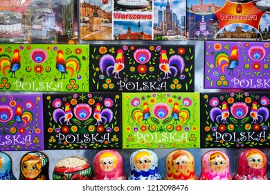 Warsaw, Poland - October 5 2018: Souvenir fridge magnets at a market stall