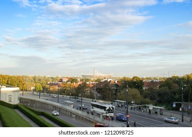 Warsaw, Poland - October 5 2018: A view of PGE Narodowy stadium from the old town