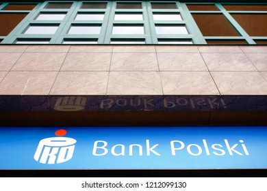 Warsaw, Poland - October 5 2018:  A sign outside a branch of Bank Polski in Warsaw