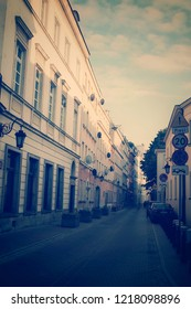 Warsaw, Poland - October 5 2018:  A street in the old town of Warsaw in soft pastel tones