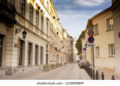 Warsaw, Poland - October 5 2018:  A street in the old town of Warsaw