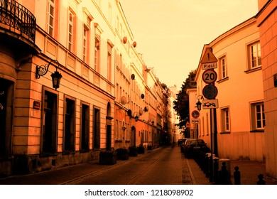 Warsaw, Poland - October 5 2018:  A street in the old town of Warsaw with a soft warm filter