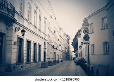 Warsaw, Poland - October 5 2018:  A street in the old town of Warsaw in monochrome