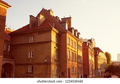 Warsaw, Poland - October 5 2018: Old buildings in Warsaw, with a soft warm filter applied