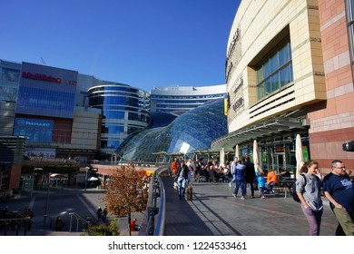 Warsaw, Poland - October 6 2018: Exterior of a modern shopping mall in Warsaw