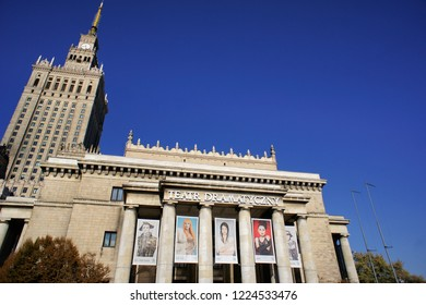 Warsaw, Poland - October 6 2018: Palace of science and culture in Warsaw  with the theatre