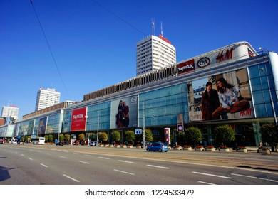 Warsaw, Poland - October 6 2018: Retail stores on Marszakowska street in Warsaw